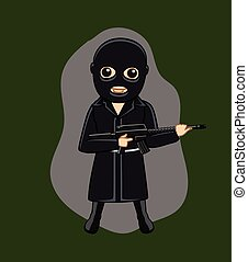 Black Suit Gangster with Gun