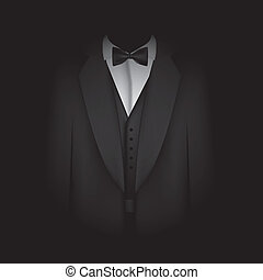 black suit with bow tie - illustration of black suit with...
