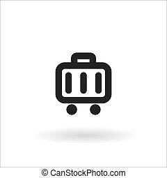 black suitcase line vector icon