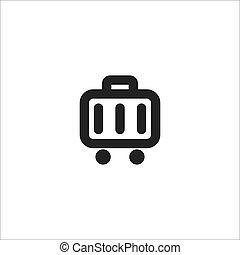 black suitcase line vector icon
