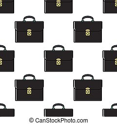 Black suitcase seamless pattern in cartoon style isolated on white background vector illustration