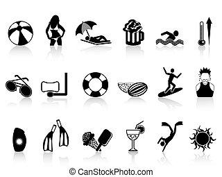 black summer heat icons set - isolated black summer heat...