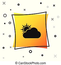 Black Sun and cloud weather icon isolated on white background. Yellow square button. Vector Illustration