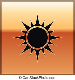 Black Sun icon isolated on gold background. Vector Illustration