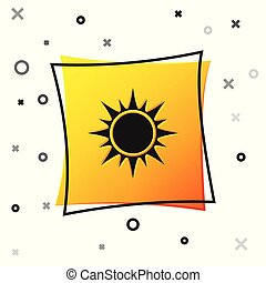 Black Sun icon isolated on white background. Yellow square button. Vector Illustration