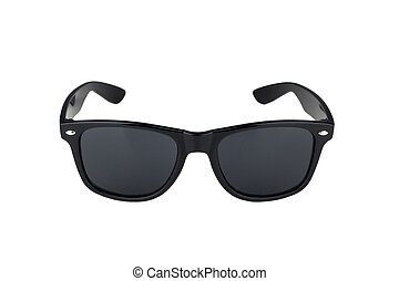 black sunglasses isolated on white - vintage retro black...