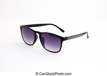 Black sunglasses on a white background.