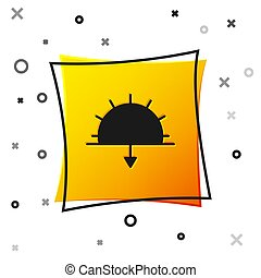 Black Sunset icon isolated on white background. Yellow square button. Vector Illustration