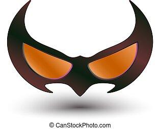 black super hero mask - realistic illustration of black...