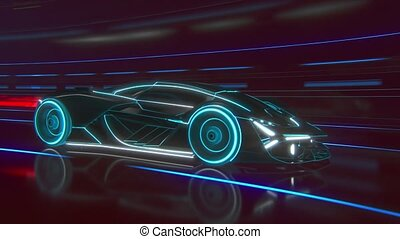 Black supercar made of blue lines driving fast on highway. Car model, detailed silhouette of sports car driving at high speed. Racing through the tunnel into the Light.