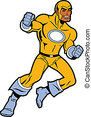 Black Superhero With Clenched Fists Fighting and Throwing a...
