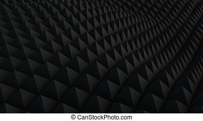 Black surface waving 3D render. Seamless loop animation