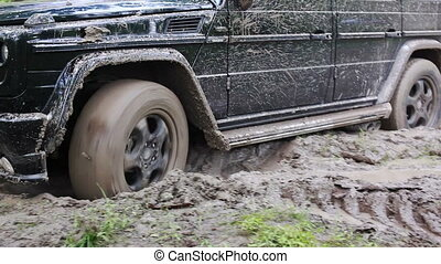 Black SUV got stuck in the mud in the forest, off-road
