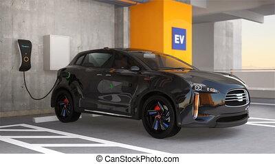Black SUV in parking garage
