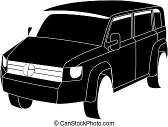 Black SUV vector illustration isolated no background