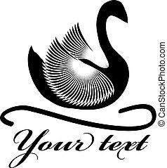 Black swan symbol isolated on white background.