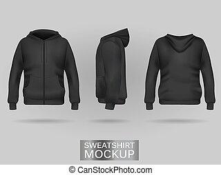 Black sweatshirt hoodie template in three dimensions: front,...