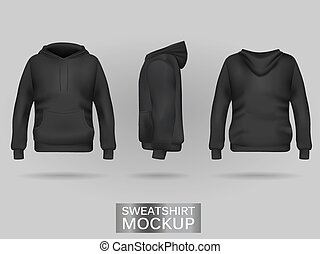 Black sweatshirt hoodie without zip template in three dimensions