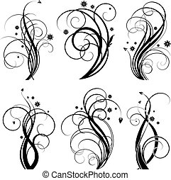 Black swirl design - Set of floral design element on white ...