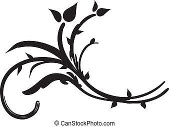 Black swirl flora design - Black swirl floral flora ...