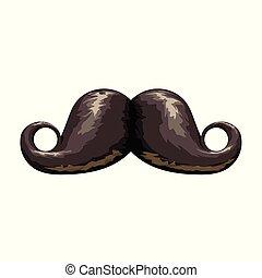 black swirl mustache on white