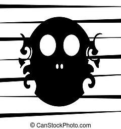 Black swirl skull