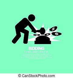 Black Symbol Bidding Auction Sign Vector Illustration