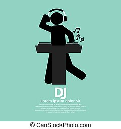 Black Symbol Disc Jockey Vector Illustration