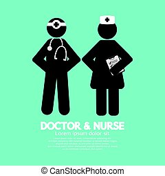 Black Symbol Doctor And Nurse Vector Illustration
