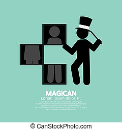 Black Symbol Graphic Of Magician Vector Illustration