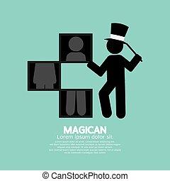 Black Symbol Graphic Of Magician Vector Illustration