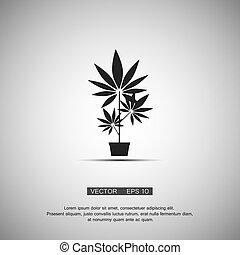 Black symbol marijuana. Vector eps 10