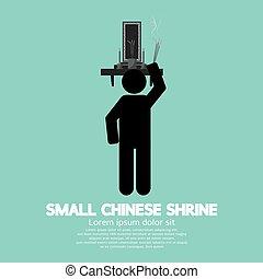 Black Symbol Small Chinese Shrine Vector Illustration