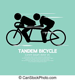 Black Symbol Tandem Bicycle Vector Illustration