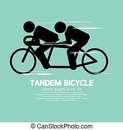 Black Symbol Tandem Bicycle Vector Illustration