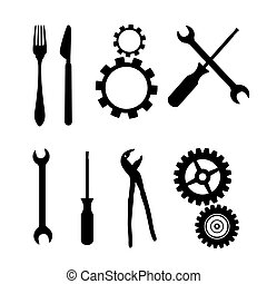 Black Symbols Isolated on White Background - Cogs, Gears, Screwdriver, Pincers, Spanner, Hand Wrench Tools, Knife, Fork