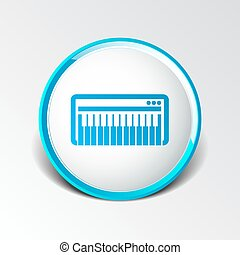 Black synthesizer keyboard piano music icon vector