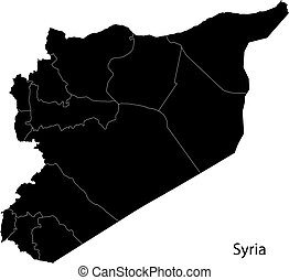 Black Syria map - Map of administrative divisions of Syria