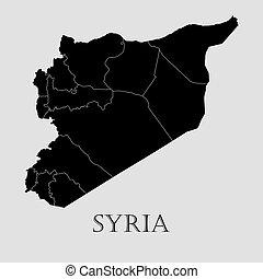 Black Syria map - vector illustration