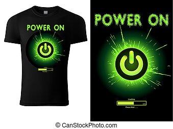 Black T-shirt Design Green Power Button