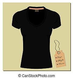 Black t-shirt design, with a label, vector.