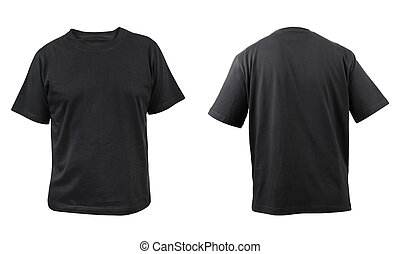 Black t-shirt front and back view. Isolated on a white...