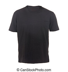 black T-shirt on a white background - Male t-shirt isolated...