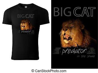T-shirt Print Design with Lion Head