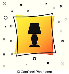 Black Table lamp icon isolated on white background. Yellow square button. Vector Illustration
