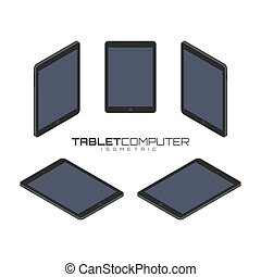 Tablet computer from four sides icon set vector graphic illustration.