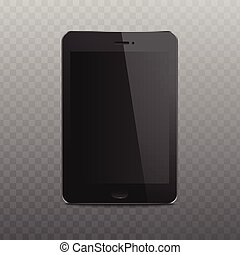 Black tablet mockup with realistic blank screen