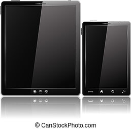 Black Tablet PC and Mobile Phone, vector eps10 illustration
