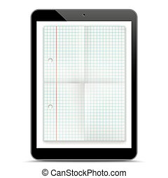 Black Tablet PC Checked Folded Paper Mockup