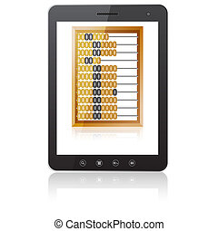 Black tablet PC computer  with abacus
